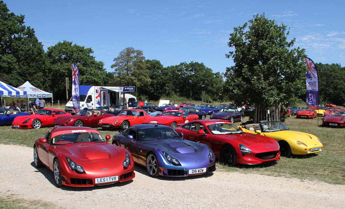 Image of TVR Car Club area fronted by 2 Sagaris & 2 Griffith
